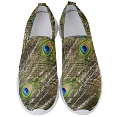 Green Peacock Feathers Color Plumage Men s Slip On Sneakers