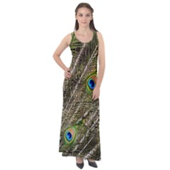 Green Peacock Feathers Color Plumage Sleeveless Velour Maxi Dress