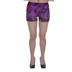 Red Peacock Feathers Color Plumage Skinny Shorts