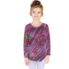 Red Peacock Feathers Color Plumage Kids  Long Sleeve Tee