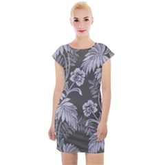 Curtain Ornament Flowers Leaf Cap Sleeve Bodycon Dress by Pakrebo
