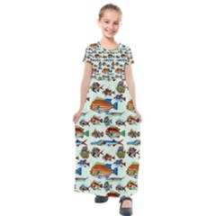 Ml 6-7 Fish Kids  Short Sleeve Maxi Dress by ArtworkByPatrick