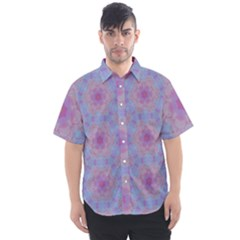 Violet Mandala Floral Pattern Men s Short Sleeve Shirt