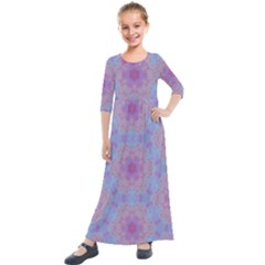 Violet Mandala Floral Pattern Kids  Quarter Sleeve Maxi Dress by WensdaiAddamns