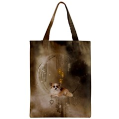Cute Little Chihuahua With Hearts On The Moon Zipper Classic Tote Bag