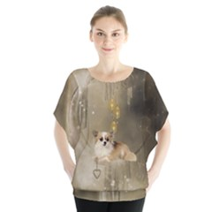 Cute Little Chihuahua With Hearts On The Moon Batwing Chiffon Blouse by FantasyWorld7