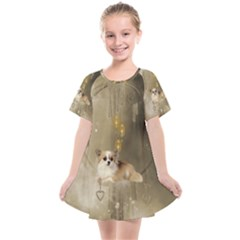 Cute Little Chihuahua With Hearts On The Moon Kids  Smock Dress
