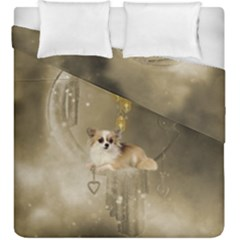 Cute Little Chihuahua With Hearts On The Moon Duvet Cover Double Side (king Size) by FantasyWorld7