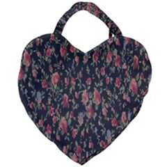 Polka Dotted Rosebuds Giant Heart Shaped Tote by retrotoomoderndesigns