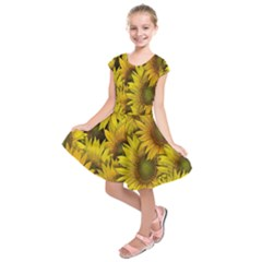 Surreal Sunflowers Kids  Short Sleeve Dress by retrotoomoderndesigns