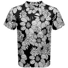 Black & White Floral Men s Cotton Tee