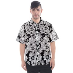 Black & White Floral Men s Short Sleeve Shirt