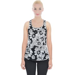 Black & White Floral Piece Up Tank Top