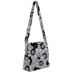 Black & White Floral Zipper Messenger Bag by WensdaiAddamns