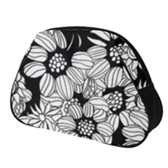 Black & White Floral Full Print Accessory Pouch (small)