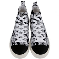 Black & White Floral Men s Mid Top Canvas Sneakers