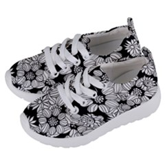 Black & White Floral Kids  Lightweight Sports Shoes by WensdaiAddamns