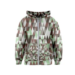 Coco Mint Triangles Kids  Zipper Hoodie by WensdaiAddamns