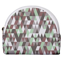 Coco Mint Triangles Horseshoe Style Canvas Pouch by WensdaiAddamns