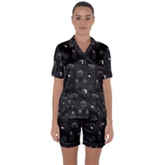 Greyscale Sushi Pattern Satin Short Sleeve Pyjamas Set by WensdaiAddamns
