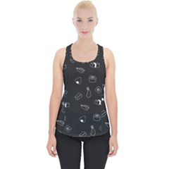 Greyscale Sushi Pattern Piece Up Tank Top