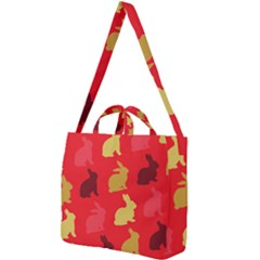 Rabbit, Rabbit   Red Square Shoulder Tote Bag by WensdaiAddamns