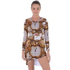 Time Clock Watches Asymmetric Cut Out Shift Dress