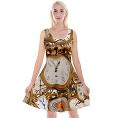 Time Clock Watches Reversible Velvet Sleeveless Dress