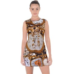 Time Clock Watches Lace Up Front Bodycon Dress