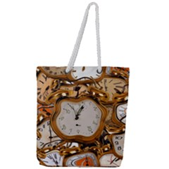 Time Clock Watches Full Print Rope Handle Tote (large)