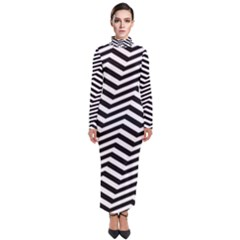Zigzag Chevron Pattern Turtleneck Maxi Dress by Jojostore