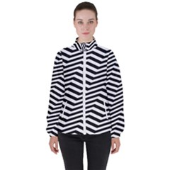 Zigzag Chevron Pattern High Neck Windbreaker (women)