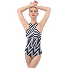 Zigzag Chevron Pattern Cross Front Low Back Swimsuit