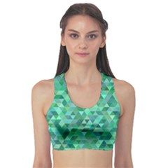 Teal Green Triangle Mosaic Sports Bra by AnjaniArt