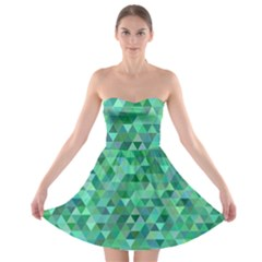 Teal Green Triangle Mosaic Strapless Bra Top Dress