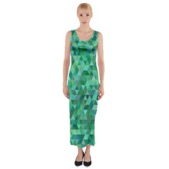 Teal Green Triangle Mosaic Fitted Maxi Dress