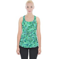 Teal Green Triangle Mosaic Piece Up Tank Top