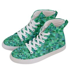 Teal Green Triangle Mosaic Men s Hi Top Skate Sneakers by AnjaniArt