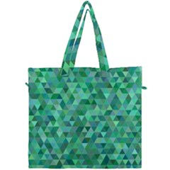 Teal Green Triangle Mosaic Canvas Travel Bag by AnjaniArt