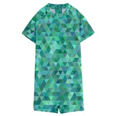 Teal Green Triangle Mosaic Kids  Boyleg Half Suit Swimwear