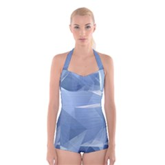 Wallpaper Abstraction Boyleg Halter Swimsuit