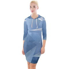 Wallpaper Abstraction Quarter Sleeve Hood Bodycon Dress