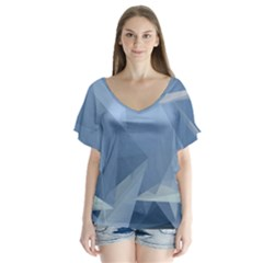 Wallpaper Abstraction V Neck Flutter Sleeve Top