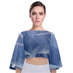 Wallpaper Abstraction Tie Back Butterfly Sleeve Chiffon Top by Alisyart
