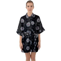 Geometric Pattern - Black Quarter Sleeve Kimono Robe by WensdaiAmbrose