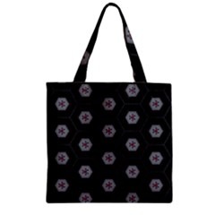 Geometric Pattern   Black Zipper Grocery Tote Bag by WensdaiAddamns