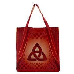 The Celtic Knot In Red Colors Grocery Tote Bag