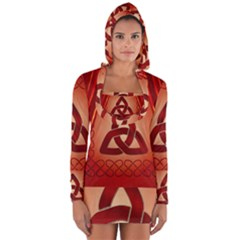 The Celtic Knot In Red Colors Long Sleeve Hooded T Shirt by FantasyWorld7