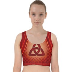 The Celtic Knot In Red Colors Velvet Racer Back Crop Top