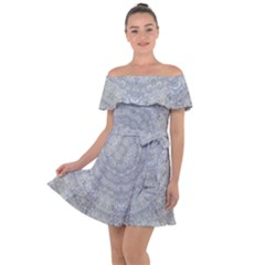 Lace Flower Planet And Decorative Star Off Shoulder Velour Dress